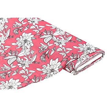 Viskose-Blusenstoff – Javanaise 'Blumen', rosa/weiss