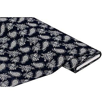 Viskose-Blusenstoff – Javanaise 'Ranken', marine/weiß