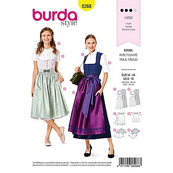 burda Patron 6268 'robe tyrolienne au style classique'