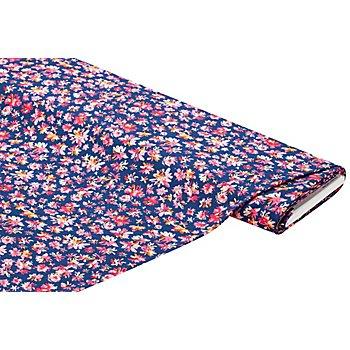 Viskose-Blusenstoff – Javanaise 'Blumen', marine/pink/orange