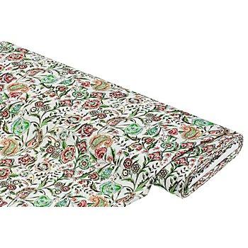 Leichter Baumwoll-Viskosestoff 'Floral' in Leinenoptik, offwhite/grün