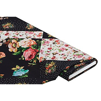 Chiffon 'Blumenspiel', schwarz/rosa