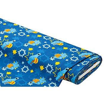 Tissu jersey en coton 'Macaron le glouton' avec de l'élasthanne, bleu multicolore