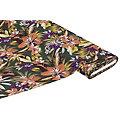 """Tissu jersey en viscose """"fleurs tropicales"""", vert multicolore"""