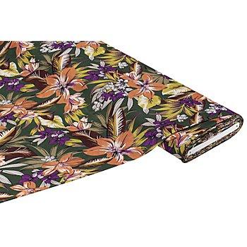 Tissu jersey en viscose 'fleurs tropicales', vert multicolore