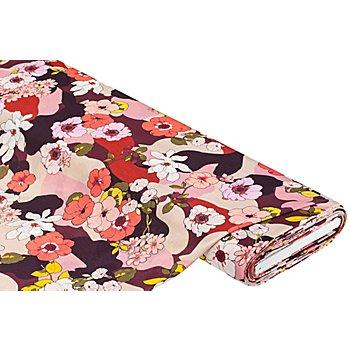 Leichter Viskose-Jersey 'Camouflage/Blume', rosa-color