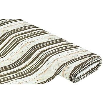 Baumwollstoff 'Streifen' in Leinenoptik, offwhite/oliv