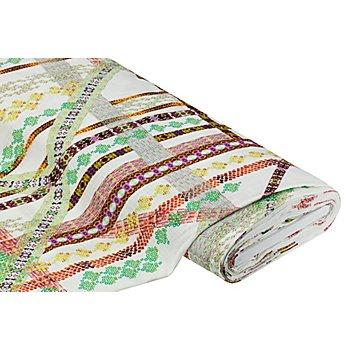 Tissu coton 'motif graphique' à l'aspect de lin, blanc délavé/marron