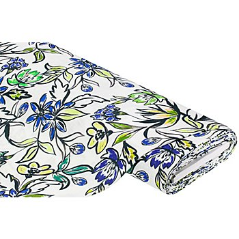 Baumwollstoff 'Blumenmalerei' in Leinenoptik, offwhite-color