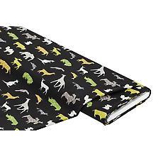Tissu jersey en coton 'animaux sauvages' avec de l'élasthanne, noir multicolore