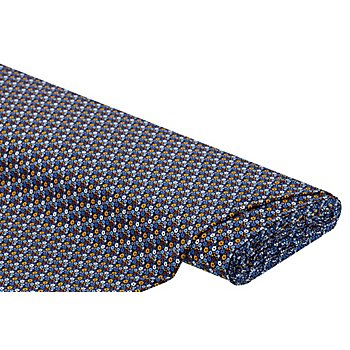 Tissu jersey en coton 'petites fleurs' avec de l'élasthanne, bleu multicolore