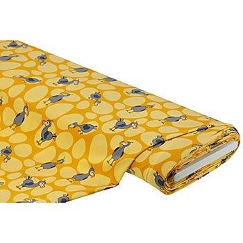 Baumwolljersey 'Vogel' mit Elasthan, gelb-color