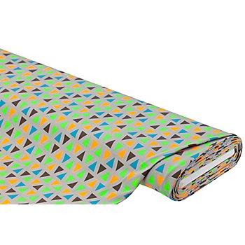 Baumwolljersey 'Dreiecke' mit Elasthan, grau/neon