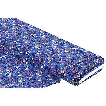 Tissu jersey en coton 'chats & fleurs' avec de l'élasthanne, bleu multicolore