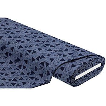 Tissu sweat-shirt / French Terry 'triangles', bleu