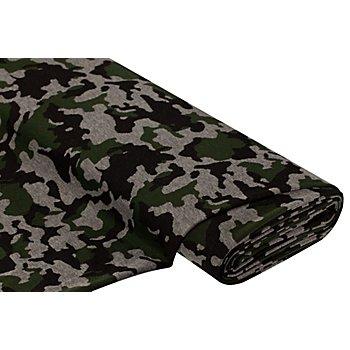 Jacquard-Jersey 'Camouflage', schwarz/grau/oliv
