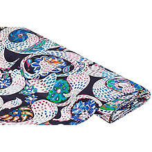 Tissu coton 'fantaisie', aspect de lin, blanc/multicolore