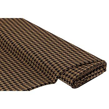 Tissu jacquard extensible 'pied de coq', marron/noir