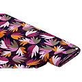 """Tissu jersey en viscose """"feuilles abstraites"""", rose vif multicolore"""