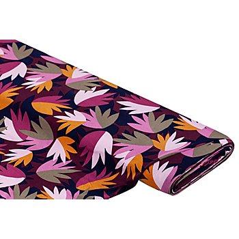 Tissu jersey en viscose 'feuilles abstraites', rose vif multicolore