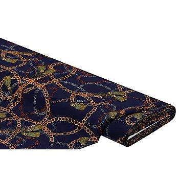 Viskose-Blusenstoff – Javanaise 'Ketten & Quasten', dunkelblau-color