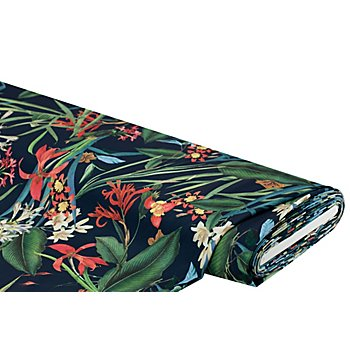Tissu crêpe extensible 'motif floral', bleu nocturne multicolore