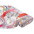 """Tissu coton """"style maritime"""" à l'aspect de lin, blanc délavé/rouge/saumon"""