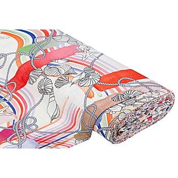 Tissu coton 'style maritime' à l'aspect de lin, blanc délavé/rouge/saumon