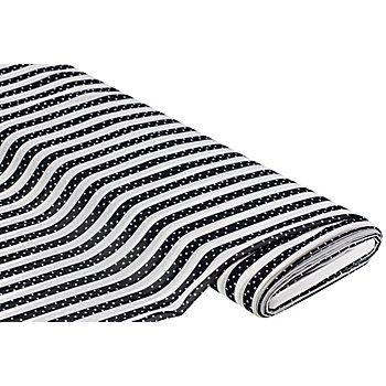 Crêpe Georgette 'Streifen', schwarz/weiß