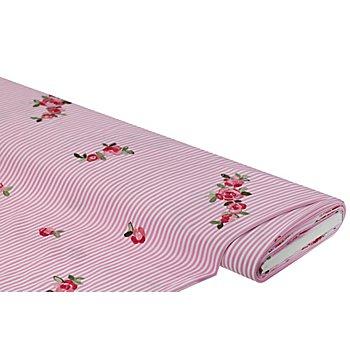 Batist mit Rosenstickerei, rosa/weiß