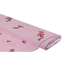 Tissu batiste avec des roses brodées, rose/blanc