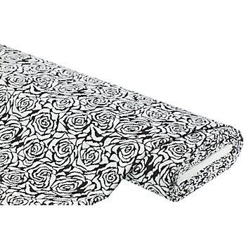 Jacquard-Jersey 'Rosen', schwarz/weiß
