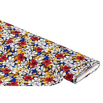 Tissu viscose pour blouses / tissu javanaise 'fleurs', bleu roi multicolore