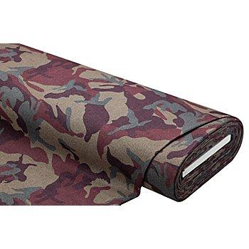 Mantelstoff 'Camouflage', grau/beere