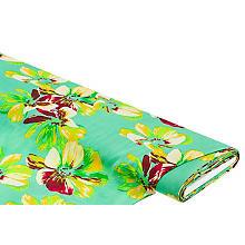 Tissu viscose léger pour blouses / tissu javanaise 'fleurs', vert menthe multicolore