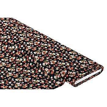 Tissu viscose pour blouses / tissu javanaise 'fleurs', noir multicolore