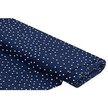 Tissu jersey en coton 'pois', bleu marine/blanc, 5 mm Ø