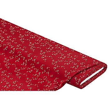 Blusenstoff 'Herzchen', rot/weiß