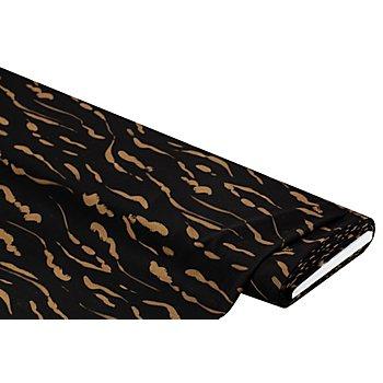 Blusenstoff mit abstraktem Design, schwarz/hellbraun