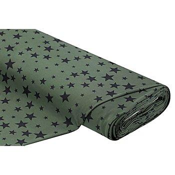 Sweatstoff 'Stars', oliv/hellgrün