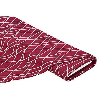 Sweatstoff 'Linien', weinrot/weiß