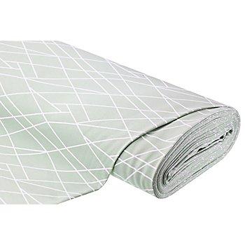 Tissu sweat-shirt 'lignes', menthe/blanc