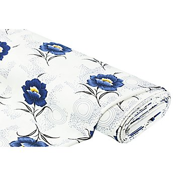 Jacquard-Jersey 'Blumen', creme/blau