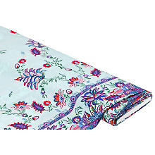 Viskose-Blusenstoff / Javanaise 'Blumen-Bordüre', mint-color