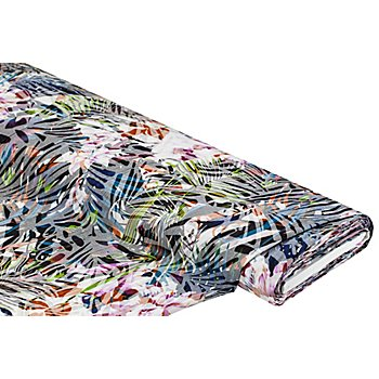 Blusenstoff 'Blätter' in Crinkle-Optik, bunt