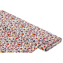 Viskose-Blusenstoff / Javanaise 'Blumen', weiß-color