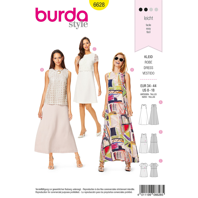 Burda Schnitt 6628 A Linie Kleid Online Kaufen Buttinette Bastelshop