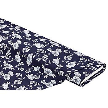 Tissu jersey en coton 'fleurs' avec de l'élasthanne, bleu marine multicolore