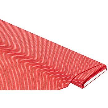 Tissu crêpe 'petits pois', corail/blanc