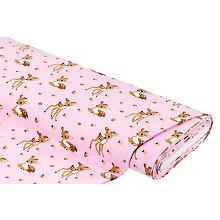 Baumwolljersey 'Rehlein & Blumen' mit Elasthan, rosa-color